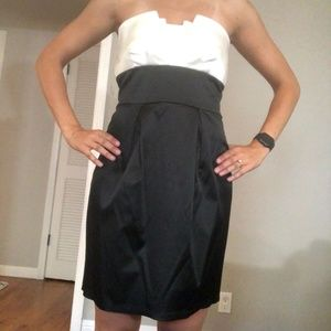 Trixxi black and white strapless dress